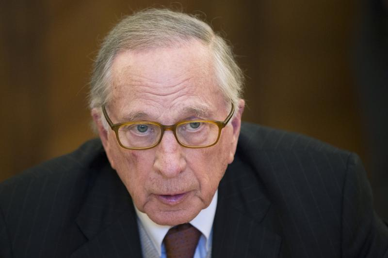 Former Georgia Senator Sam Nunn speaks during a meeting with Russian Foreign Minister Sergey Lavrov in Moscow, Russia, Wednesday, Feb. 24, 2016.