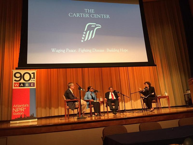 L to R: Harvey Newman, Andrea Young, Andrew Young, and Valerie Jackson onstage at the Carter Center.