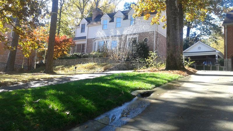An Atlanta home violating the state's water restrictions in Piedmont Heights. Outdoor watering is only allowed 4 pm to 10 am two days a week: on Wednesdays and Saturdays for even-numbered addresses, and Thursdays and Sundays for odd-numbered addresses.