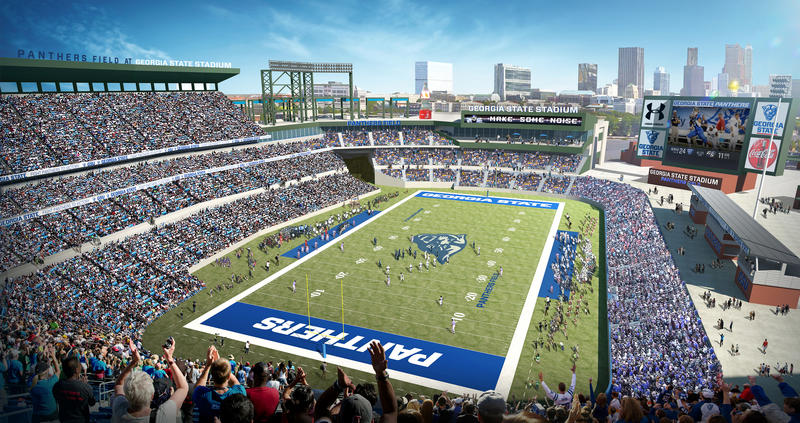 A rendering of the new Georgia State Panthers football stadium. The team plans to play its 2017 season here after it renovates the former Atlanta Braves baseball stadium. The Board of Regents approved the $22.8 million purchase of Turner Field Wednesday.