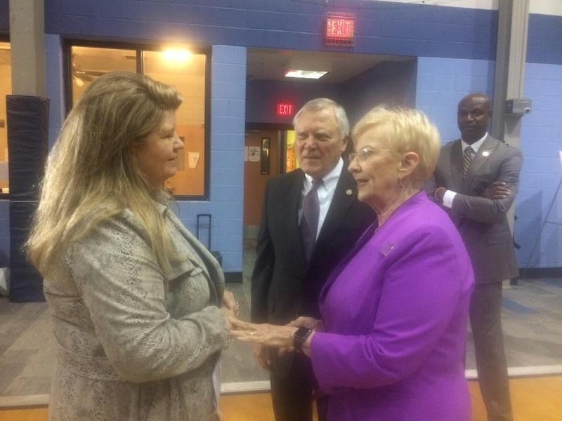 Covenant House's Allison Ashe greets Gov. Nathan Deal and First Lady Sandra Deal.