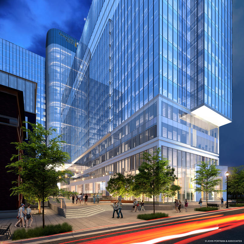 A rendering of the new Coda building in Midtown Atlanta. Georgia Tech will occupy half of the building and it will house a high performance computing center.