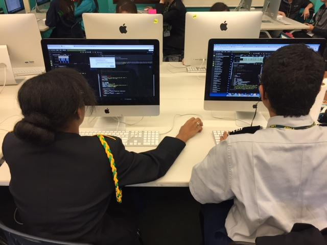 Students in Amy Wozniak's computer science class in Chicago use EarSketch to learn the programming language Python. EarSketch was created by two Georgia Tech professors.