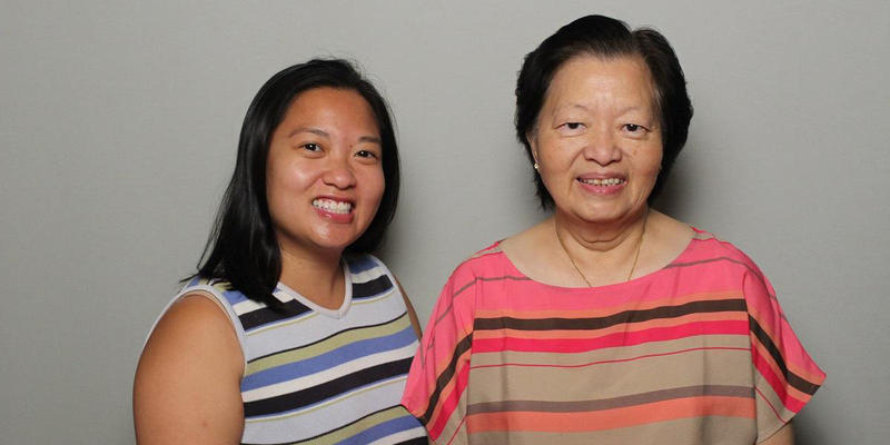 Sandy Hsiao and her mother, Ella Hsiao, talked in the StoryCorps Atlanta booth.