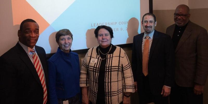 United Way's Milton Little, civic leader Ann Cramer, Community Foundation's Alicia Philipp, Learn4Life's Ken Zeff and ARC's Doug Hooker at recent Learn4Life executive committee meeting.