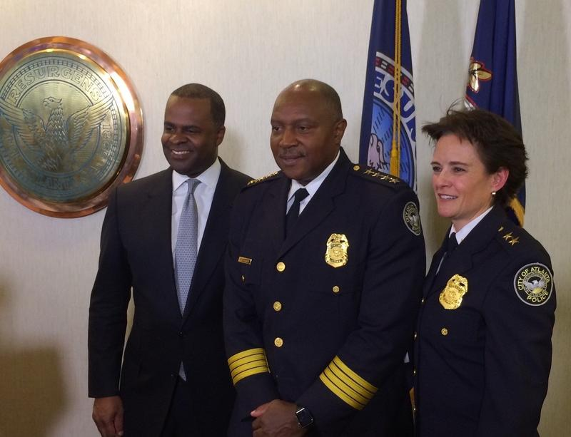 Mayor Kasim Reed, APD Chief George Turner and incoming Chief Erika Shields are seen here.