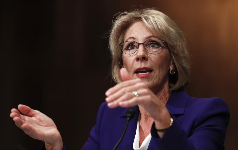 President-elect Donald Trump's pick for Education Secretary, Betsy DeVos, answered questions from a Senate committee Tuesday.