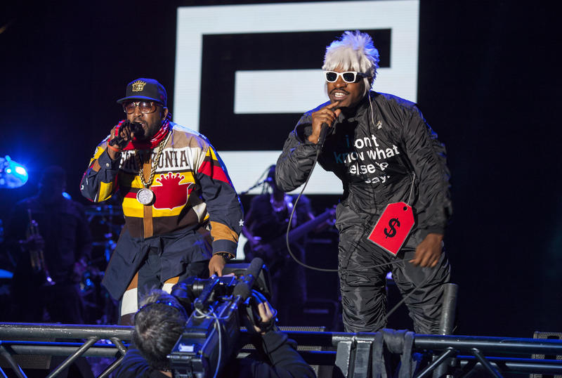 "Antwan ""Big Boi"" Patton and André ""André 3000"" Benjamin of Outkast perform at the Voodoo Music Experience on Friday, Oct. 31, 2014, in New Orleans."