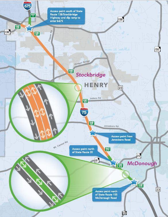 Map Of Georgia 75.I 75 South Express Lanes Debut This Weekend Wabe 90 1 Fm
