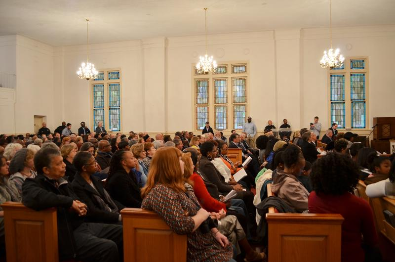 Two hundred people packed into the pews of Warren Temple United Methodist Church in LaGrange to hear the town's formal apology for the 1940 lynching of Austin Callaway.
