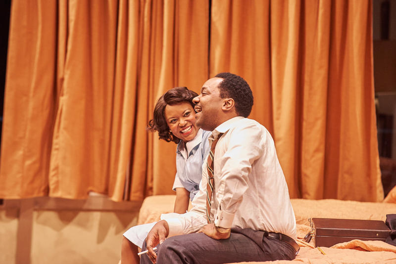 """The """"Mountaintop"""" is set in a room at the Lorraine Motel. King, played by Neal Ghant, talks with mysterious maid Camae, played by Cynthia D. Barker."""