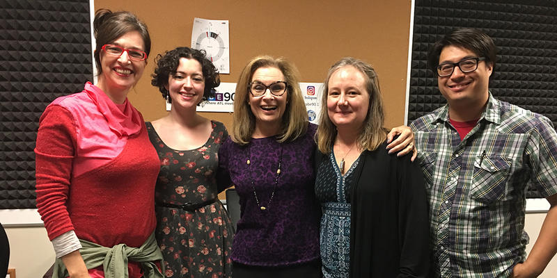 From left to right: Synchronicity Theatre's Rachel May, The Weird Sisters Theatre Project's Rachel Frawley, Lois Reitzes, 7 Stages Theatre's Heidi Howard and WABE's Myke Johns.