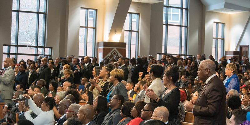 Crowds watched, cheered and stood for the many speakers who took the podium during a Martin Luther King Jr. Day commemorative service at Ebenezer Baptist Church in Atlanta on January 16, 2017.
