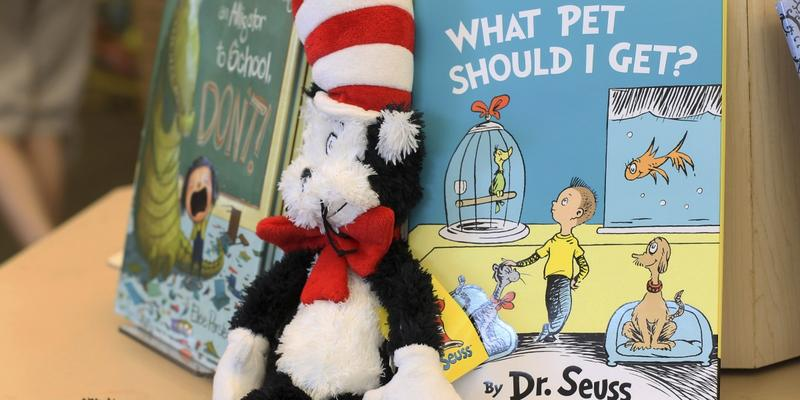 "A plush ""Cat in the Hat"" toy is displayed next to ""What Pet Should I Get?,"" the latest book by Dr. Seuss, on Tuesday, July 28, 2015 at a bookstore in Concord, N.H."
