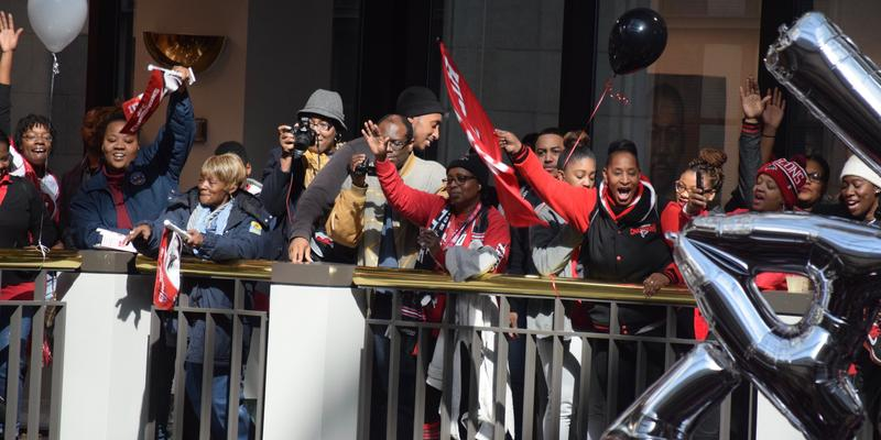 Fans turned out to the Falcons pep rally at Atlanta City Hall on Friday, Jan. 27 to pump up for Super Bowl LI, in which the Falcons will take on the New England Patriots.