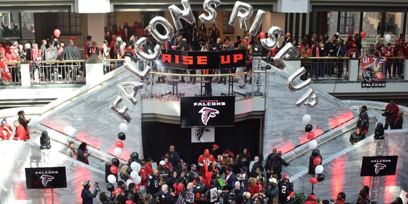 Hundreds packed Atlanta City Hall on Friday, Jan. 27 for a Falcons pre-Super Bowl pep rally.