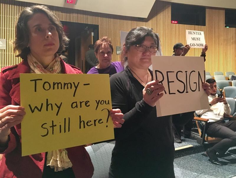Protesters called for Gwinnett County Commissioner Tommy Hunter to resign after comments he made about Rep. John Lewis.