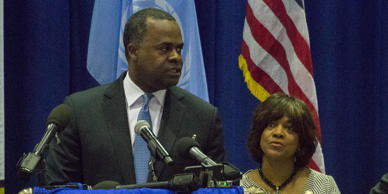 City of Atlanta Mayor Kasim Reed and the Atlanta University Center Consortium leaders announced the launch of a new camera surveillance program. The president of Morehouse School of Medicine, Dr. Valerie Montgomery Rice, is pictured right.