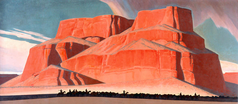 Maynard Dixon (1875–1946), Red Butte with Mountain Men, 1935, oil on canvas, 95 x 213 in. Booth Western Art Museum, Cartersville, GA.