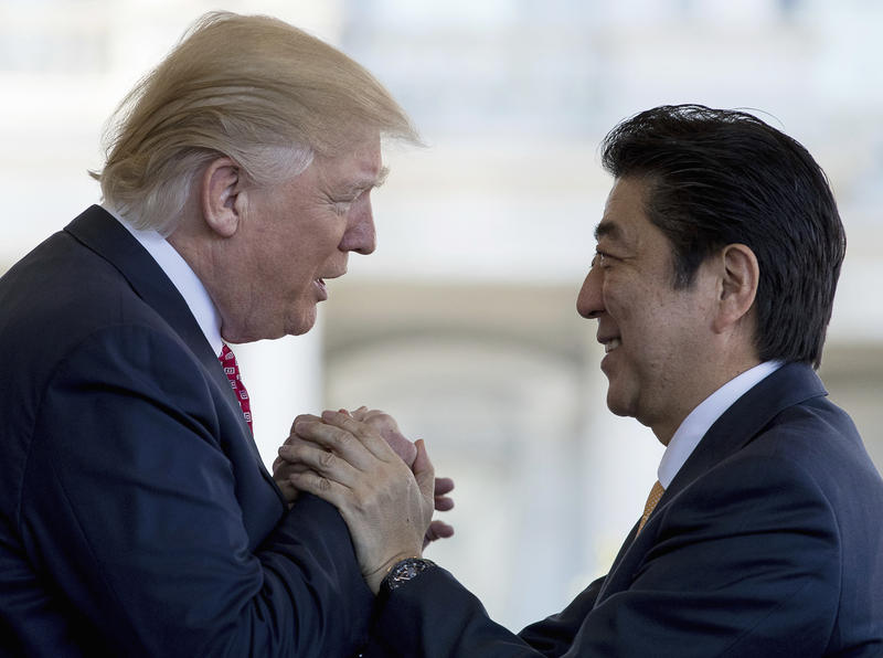 President Donald Trump welcomed Japan's prime minister to the White House Friday.