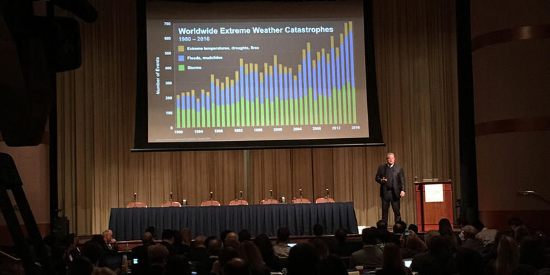Former Vice President Al Gore speaks a summit on climate change and public health at the Carter Center on Thursday. This summit replaces a meeting the CDC canceled back in January.