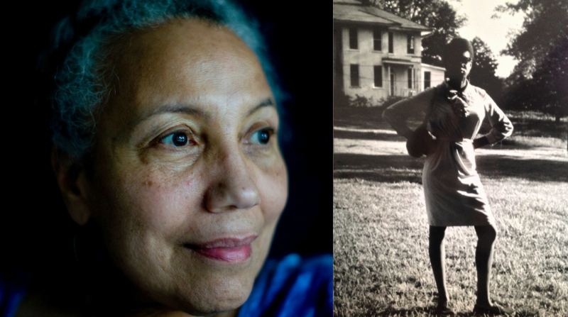 Photographer and scholar Dr. Doris Derby (left) presents her work of women in civil rights at Hartsfield-Jackson Atlanta International Airport. In this photo from 1968 (right), activist June Johnson poses in Mississippi.