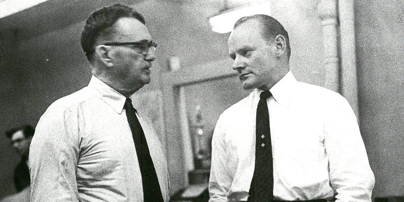 Gene Patterson (right) stands with Ralph McGill at The Atlanta Constitution in 1960, the year Patterson succeeded McGill as editor.