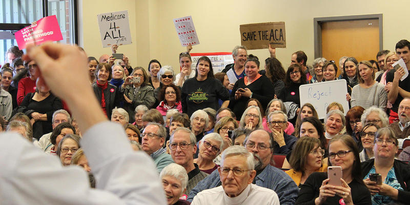 An angry crowd in Greensboro, Georgia held an impromptu town hall after congressional staffers said they'd only meet with constituents in small groups.