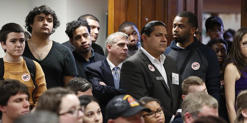 An overflow crowd gathered earlier this month to hear a discussion about the House bill that would ban private universities from receiving state funding if they adopt ''sanctuary'' policies.