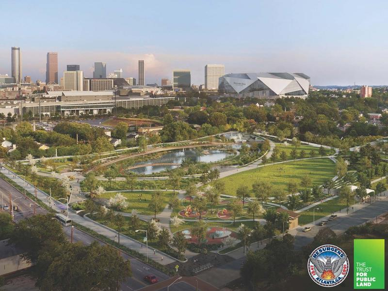 A rendering looking southeast across Cook Park with Mercedes-Benz Stadium in the background.