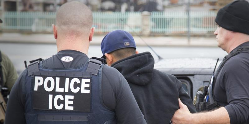 This Tuesday, Feb. 7, 2017, photo shows foreign nationals being arrested this week during a targeted enforcement operation conducted by U.S. Immigration and Customs Enforcement (ICE) in California.