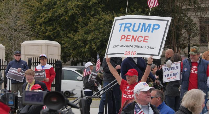 Supporters of President Donald Trump at a rally Monday at the Georgia State Capitol.