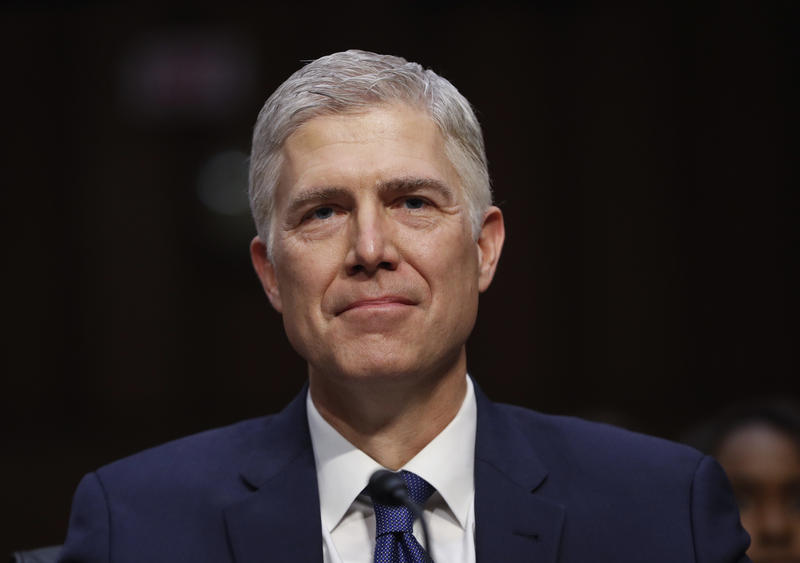 Supreme Court Justice nominee Neil Gorsuch arrives on Capitol Hill in Washington, Monday, March 20, 2017, for his confirmation hearing before the Senate Judiciary Committee.