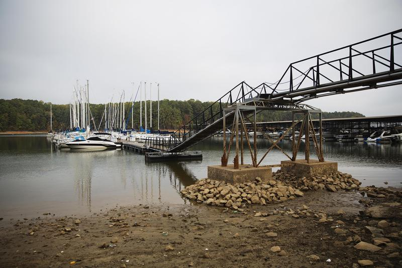 The shoreline is exposed by receding water levels on Lake Lanier in Buford in October. The lake has been slow to recover from drought conditions.