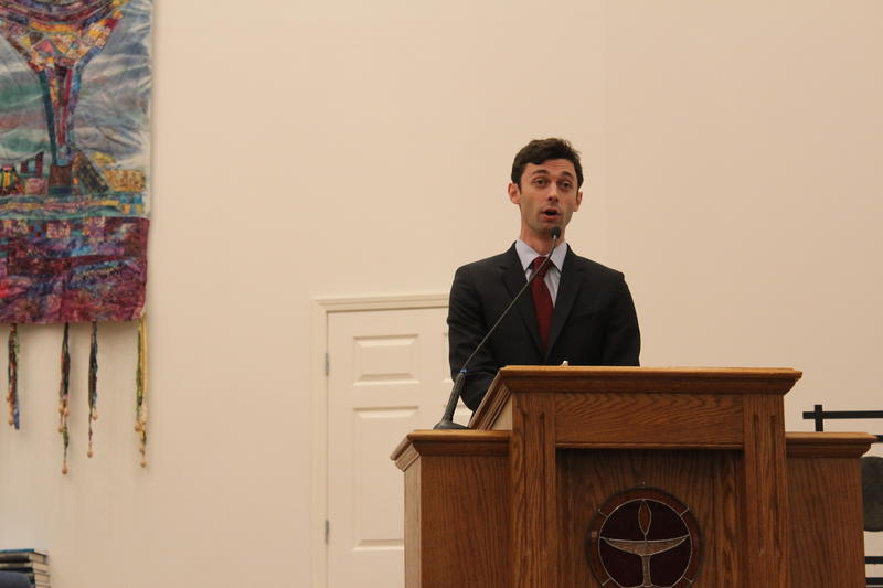 Democratic candidate Jon Ossoff speaks to members of the group, Liberal Moms of Roswell and Cobb.