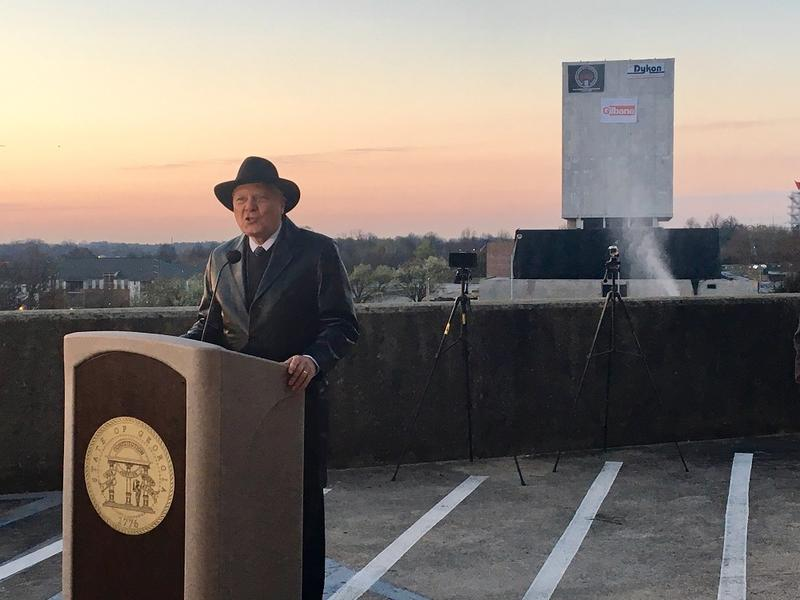 Georgia Gov. Nathan Deal spoke moments before the former Georgia Arhives building came down Sunday morning.