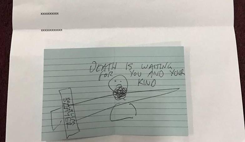 "CAIR Georgia says a Lawrenceville mosque received this handwritten threat from a self-described ""Muslim slayer."""