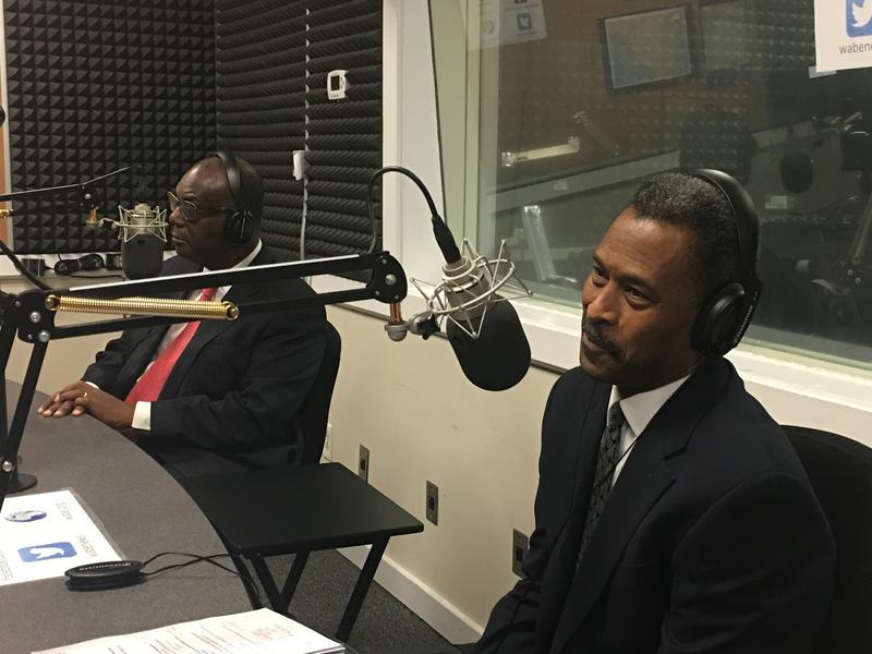 """Dr. Ronald Johnson, left, president of Clark Atlanta University, and Dr. John Silvanus Wilson Jr., president of Morehouse College, spoke to""""Closer Look"""" Monday."""