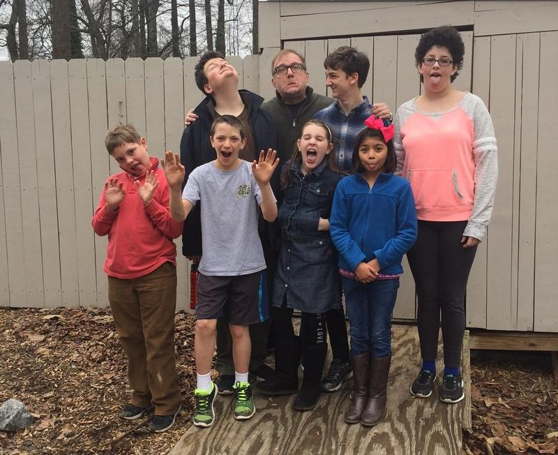 Andy Jones gets silly with kids from The Exceptional Student Group.