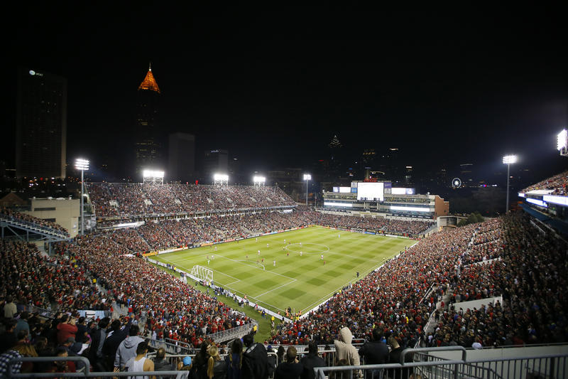 Atlanta United drew a sellout crowd of 55,297 for its first Major League Soccer game Sunday. The team made announcements before the game asking fans to avoid abusive behavior.
