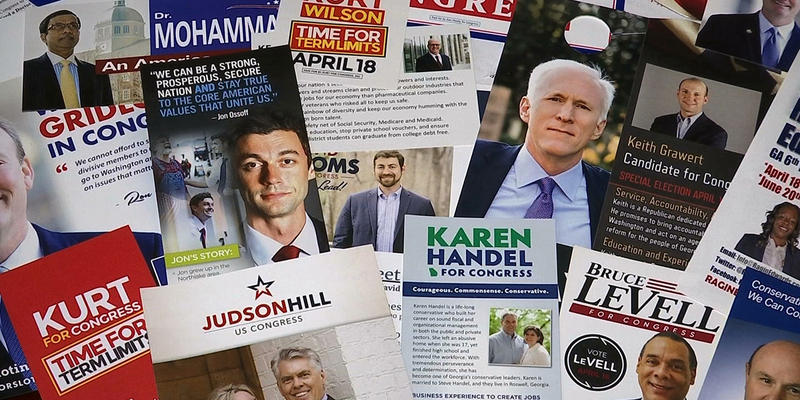 Eighteen candidates, including the ones seen in this compilation of campaign advertisements, are running in a special election today.
