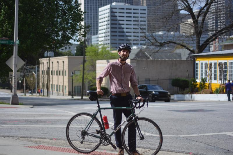 David Pedrick bikes the five miles from Adair Park to his office. He has logged his 35-minute bike ride on Georgia Commute Options since 2014.