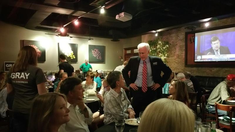 Former Johns Creek City Council member Bob Gray hosted an election night party at Ippolito's Italian Restaurant in Roswell.