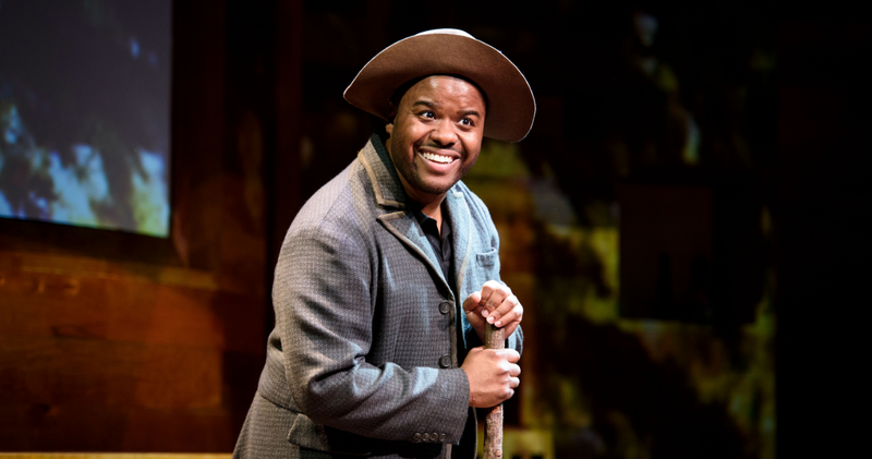 "Mark Kendall in the Alliance Theatre's production ""The Magic Negro and Other Blackity Blackness as told by an African American Man who also Happens to be Black,"" which continues through Sunday."