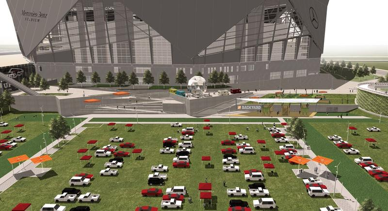 The 13-acre space will be for tailgating during game days, and open to the public when the new Mercedes-Benz Stadium isn't in use.