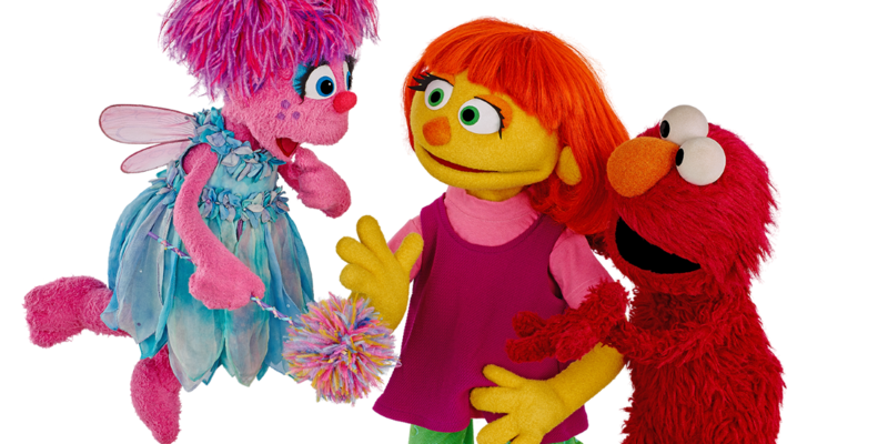 Julia, center, is Sesame Street's newest face, and the show's first muppet with autism.