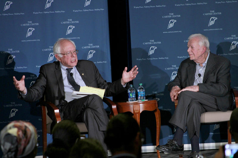 Jimmy Carter and Bernie Sanders held a discussion at the Carter Center Monday night.