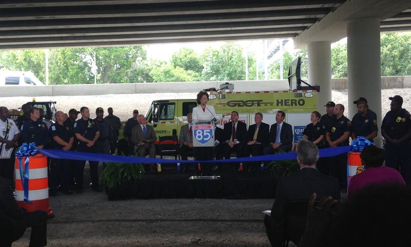 U.S. Department of Transportation Secretary Elaine Chao speaks at a ribbon cutting ceremony for the newly rebuilt I-85 bridge.