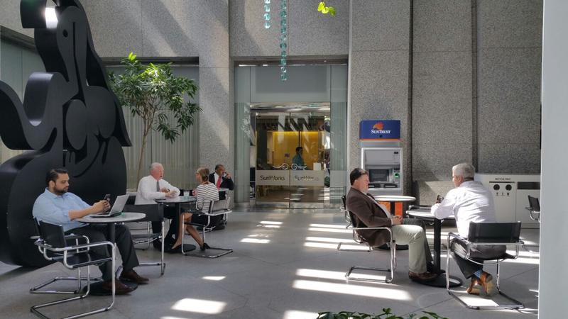 SunWorks is a mobile workspace for all employees on the ground floor of SunTrust Bank's corporate headquarters in Midtown Atlanta.