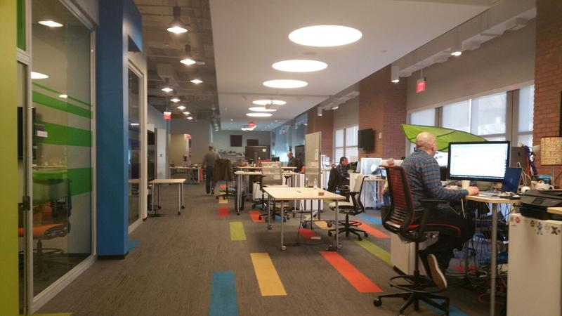 At AT&T's corporate innovation center in Atlanta, employees have desks on wheels so they can easily rearrange themselves based on the projects they're working on.